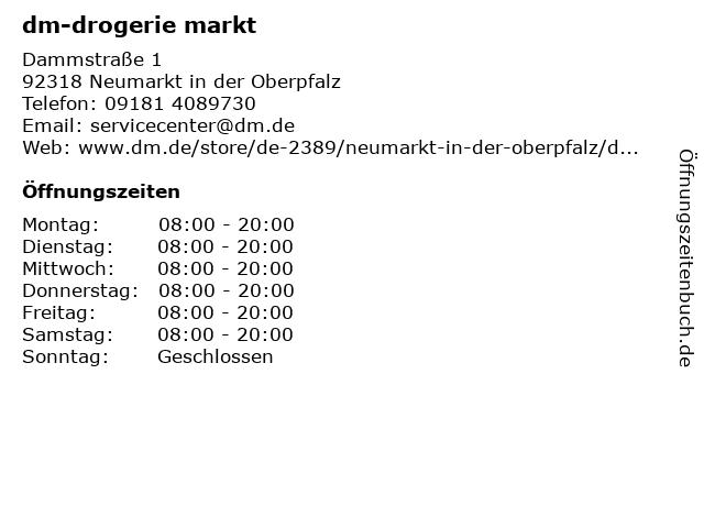 dm-drogerie markt in Neumarkt in der Oberpfalz: Adresse und Öffnungszeiten