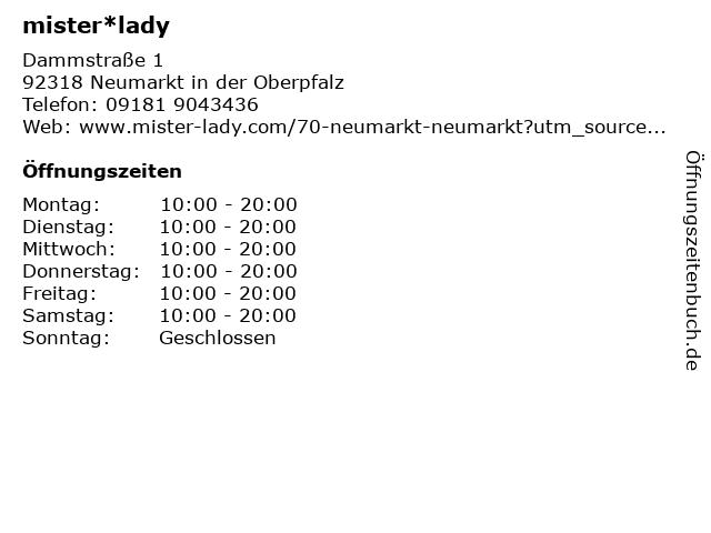 mister*lady GmbH in Neumarkt: Adresse und Öffnungszeiten
