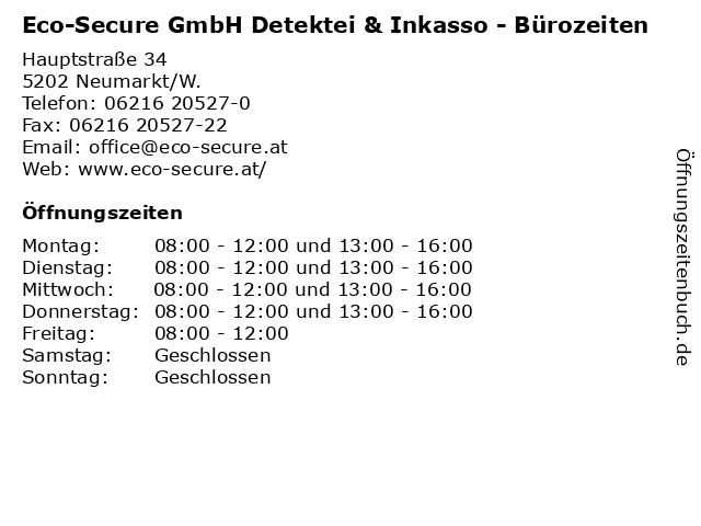Eco-Secure GmbH Detektei & Inkasso - Bürozeiten in Neumarkt/W.: Adresse und Öffnungszeiten