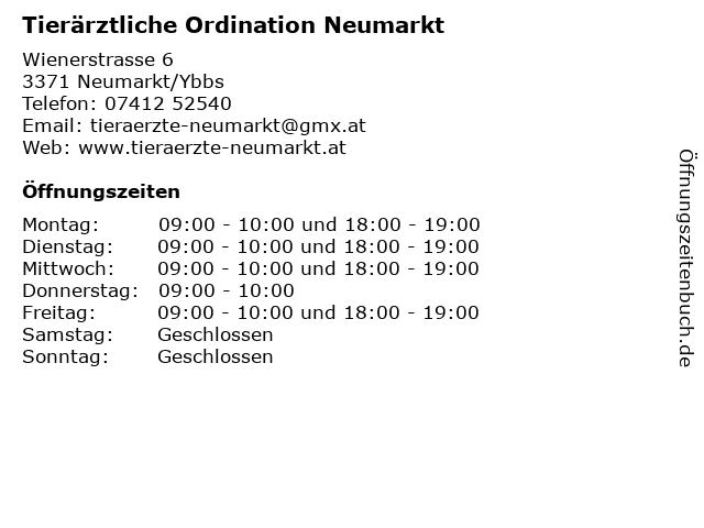 Tierärztliche Ordination Neumarkt in Neumarkt/Ybbs: Adresse und Öffnungszeiten
