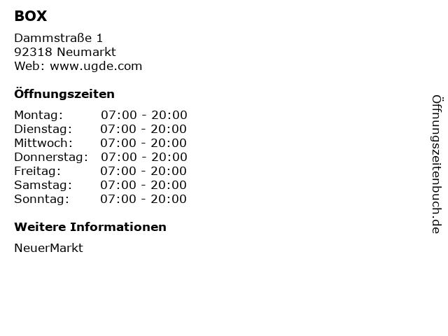 BOX in Neumarkt: Adresse und Öffnungszeiten