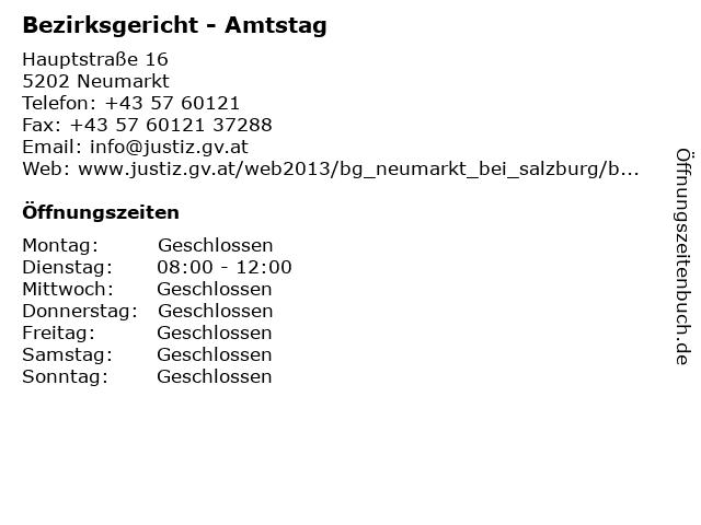 Bezirksgericht - Amtstag in Neumarkt: Adresse und Öffnungszeiten