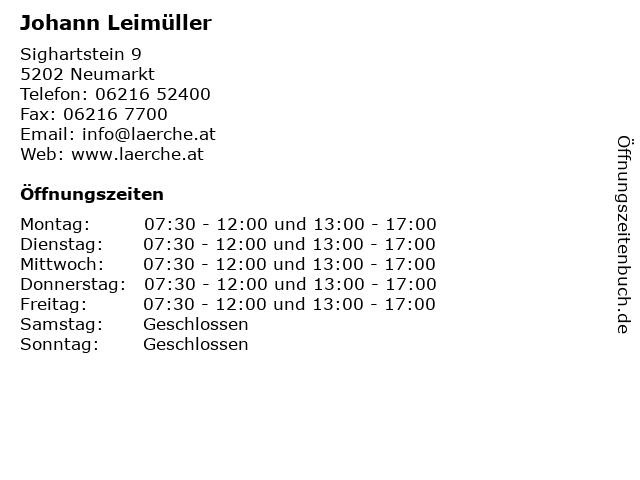 Johann Leimüller in Neumarkt: Adresse und Öffnungszeiten