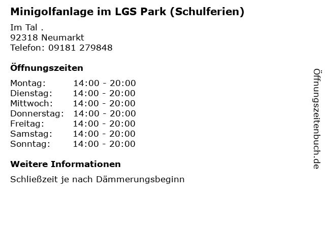 Minigolfanlage im LGS Park (Schulferien) in Neumarkt: Adresse und Öffnungszeiten
