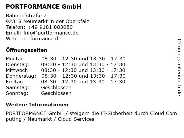 PORTFORMANCE GmbH in Neumarkt: Adresse und Öffnungszeiten