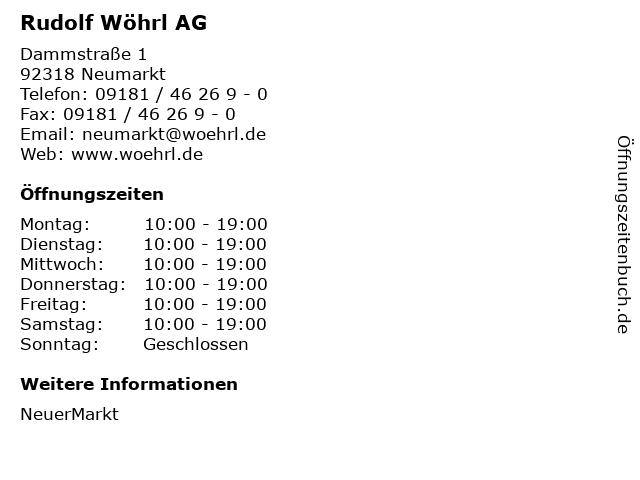 Rudolf Wöhrl AG in Neumarkt: Adresse und Öffnungszeiten