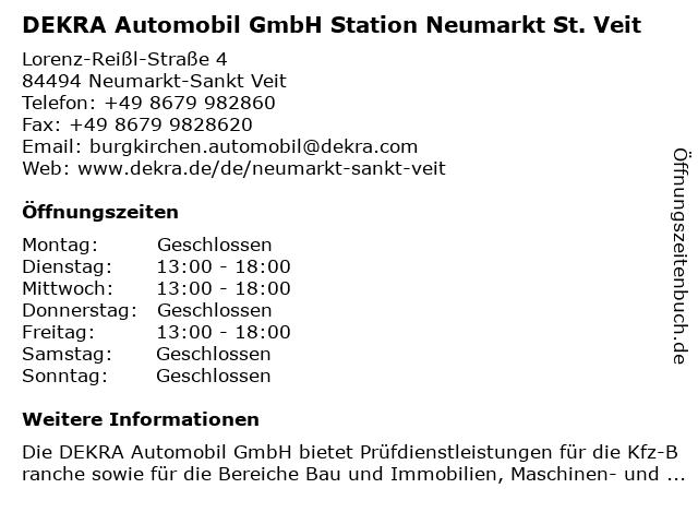 DEKRA Automobil GmbH Station Neumarkt St. Veit in Neumarkt-Sankt Veit: Adresse und Öffnungszeiten