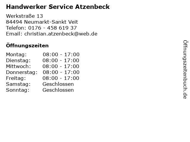 Handwerker Service Atzenbeck in Neumarkt-Sankt Veit: Adresse und Öffnungszeiten