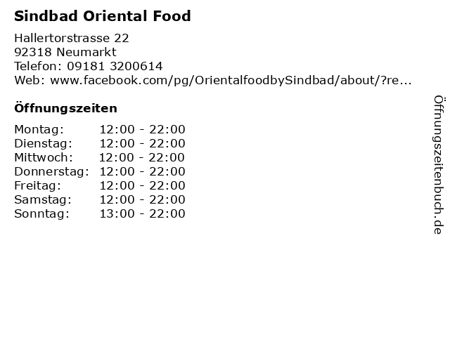 Sindbad Oriental Food in Neumarkt: Adresse und Öffnungszeiten
