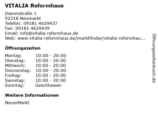 VITALIA Reformhaus in Neumarkt: Adresse und Öffnungszeiten