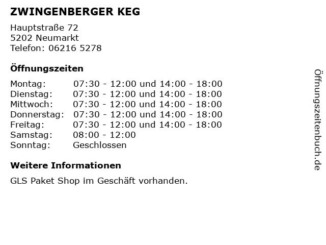 ZWINGENBERGER KEG in Neumarkt: Adresse und Öffnungszeiten
