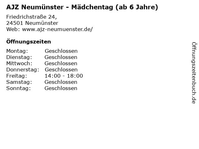 AJZ Neumünster - Mädchentag (ab 6 Jahre) in Neumünster: Adresse und Öffnungszeiten