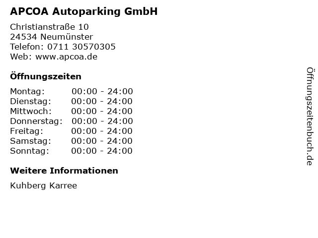 APCOA Autoparking GmbH in Neumünster: Adresse und Öffnungszeiten