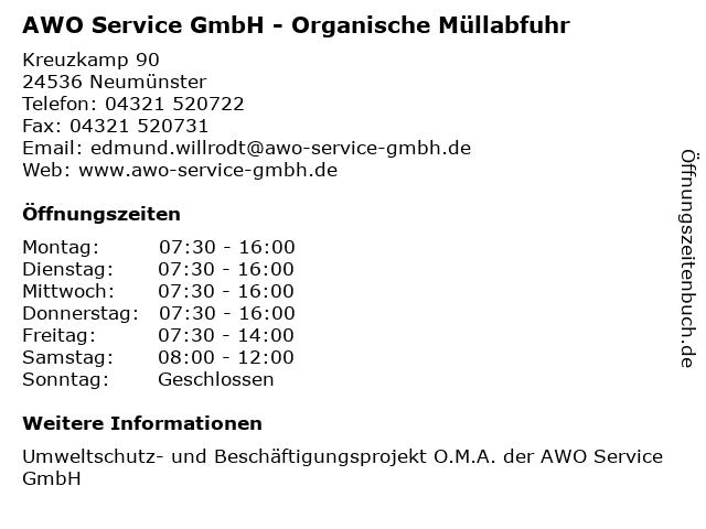 AWO Service GmbH - Organische Müllabfuhr in Neumünster: Adresse und Öffnungszeiten
