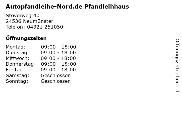 Autopfandleihe-Nord.de Pfandleihhaus in Neumünster: Adresse und Öffnungszeiten