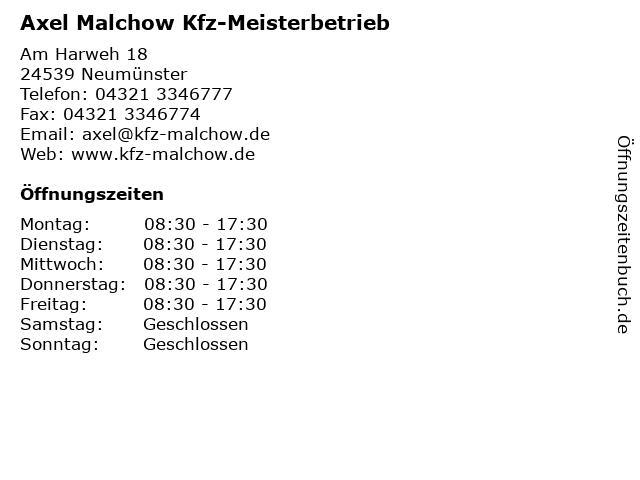 Axel Malchow Kfz-Meisterbetrieb in Neumünster: Adresse und Öffnungszeiten