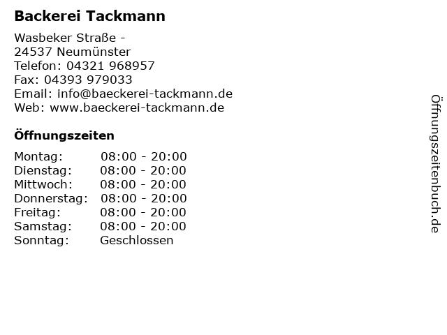 Backerei Tackmann in Neumünster: Adresse und Öffnungszeiten
