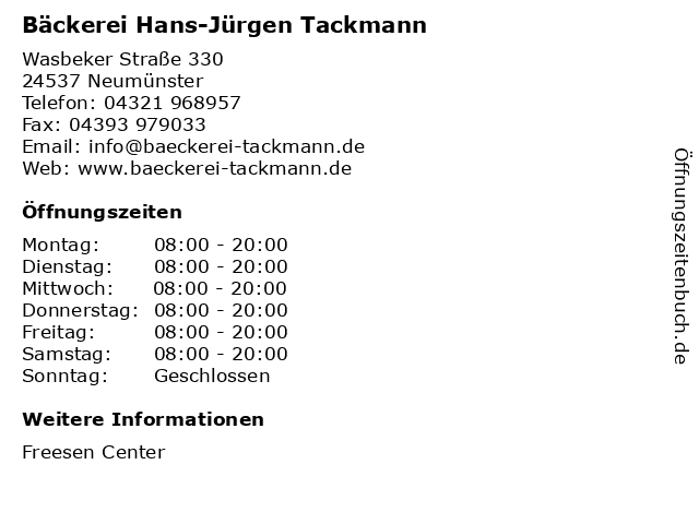 Bäckerei Hans-Jürgen Tackmann in Neumünster: Adresse und Öffnungszeiten