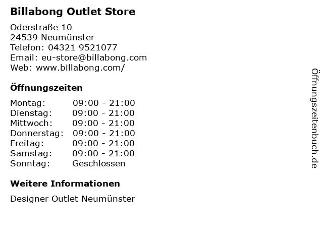Billabong in Neumünster: Adresse und Öffnungszeiten