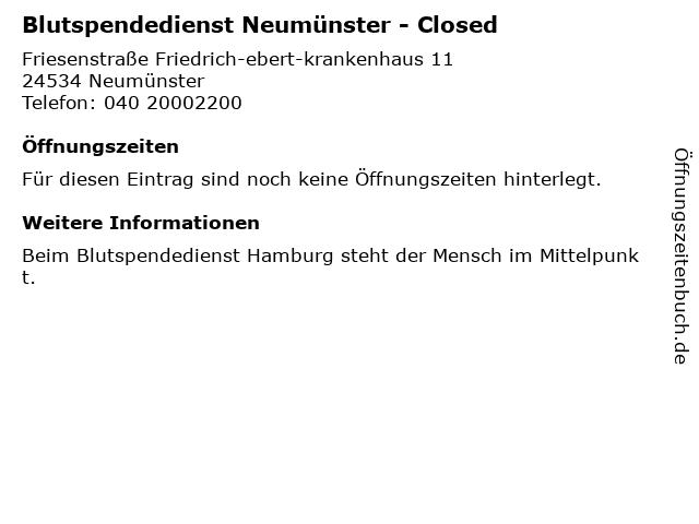 Blutspendedienst Neumünster in Neumünster: Adresse und Öffnungszeiten