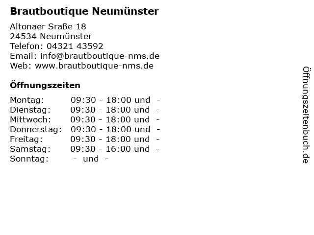 ᐅ Offnungszeiten Brautboutique Neumunster Altonaer Srasse 18 In