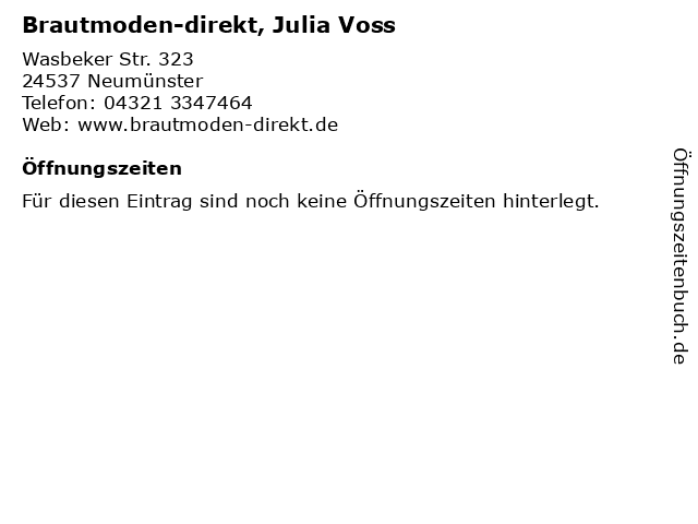 ᐅ Offnungszeiten Brautmoden Direkt Julia Voss Wasbeker Str