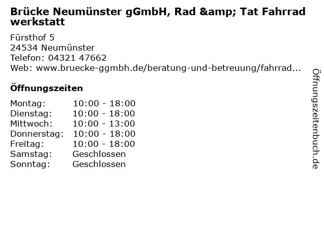 Brücke Neumünster gGmbH, Rad & Tat Fahrradwerkstatt in Neumünster: Adresse und Öffnungszeiten