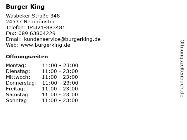 Burger King in Neumünster: Adresse und Öffnungszeiten