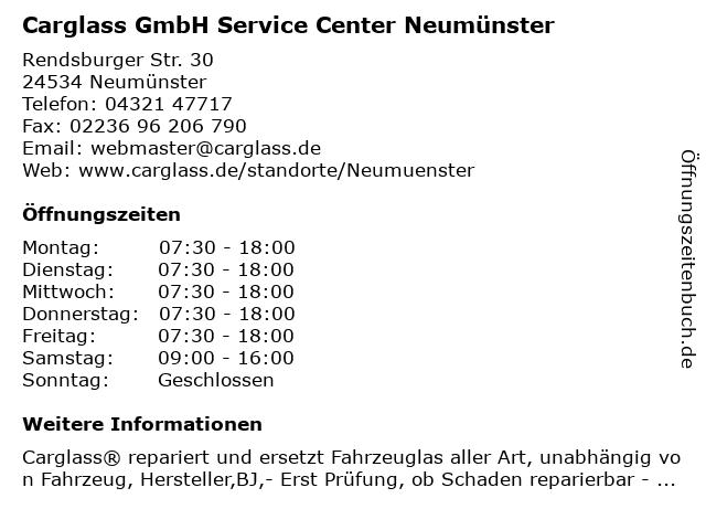 Carglass GmbH Service Center Neumünster in Neumünster: Adresse und Öffnungszeiten