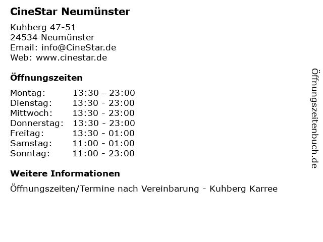CineStar Neumünster in Neumünster: Adresse und Öffnungszeiten