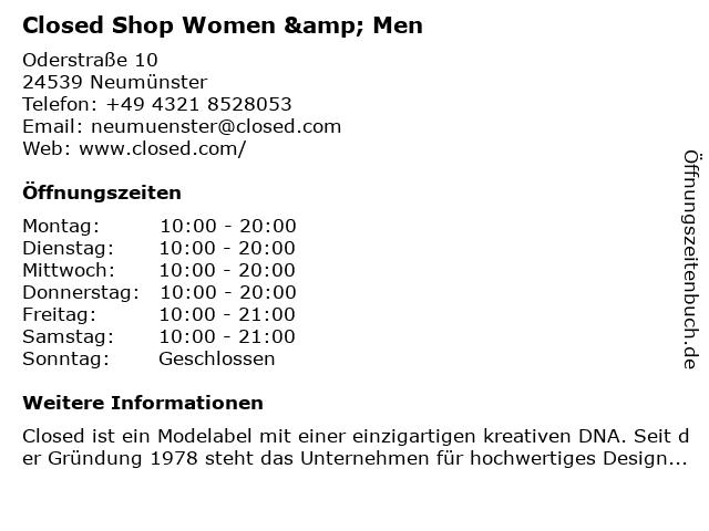 Closed Shop Women & Men in Neumünster: Adresse und Öffnungszeiten