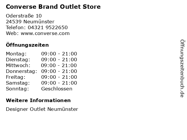 Converse Brand Outlet Store in Neumünster: Adresse und Öffnungszeiten