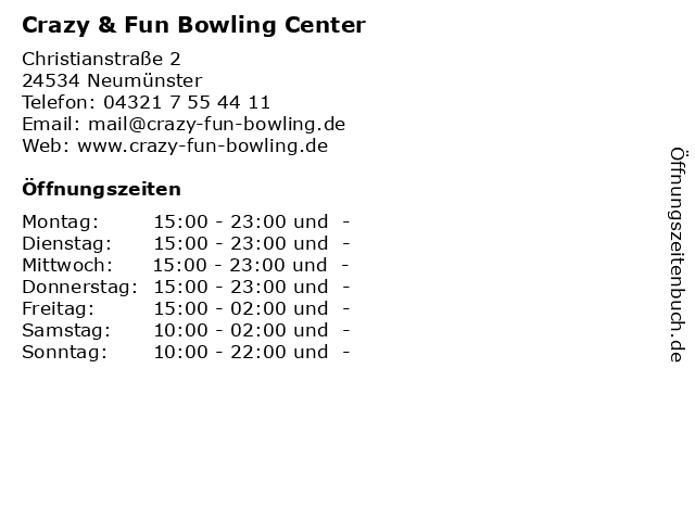 Crazy & Fun Bowling Center in Neumünster: Adresse und Öffnungszeiten