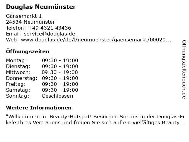 Parfümerie Douglas Neumünster in Neumünster: Adresse und Öffnungszeiten