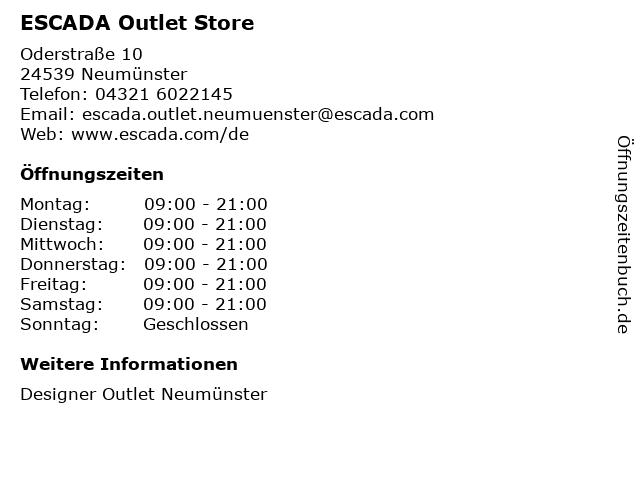 ESCADA Outlet Store in Neumünster: Adresse und Öffnungszeiten