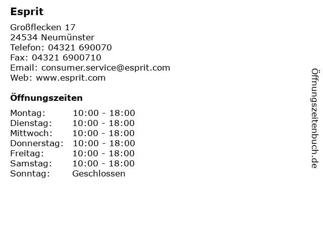 Esprit in Neumünster: Adresse und Öffnungszeiten