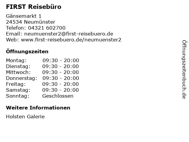 FIRST Reisebüro in Neumünster: Adresse und Öffnungszeiten