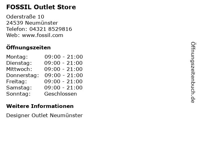 FOSSIL Outlet Store in Neumünster: Adresse und Öffnungszeiten