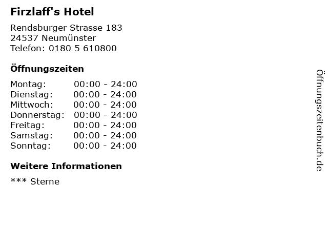 Firzlaff's Hotel in Neumünster: Adresse und Öffnungszeiten