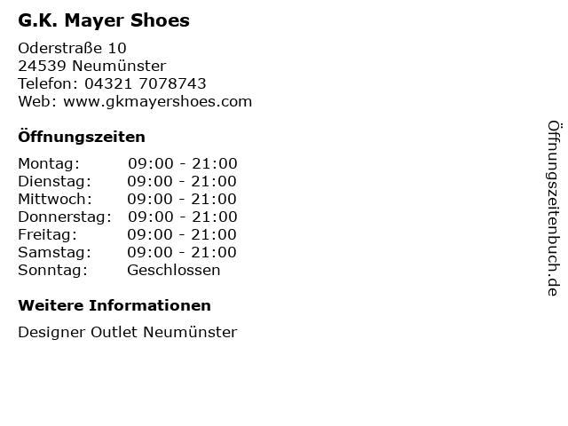 G.K. Mayer Shoes in Neumünster: Adresse und Öffnungszeiten