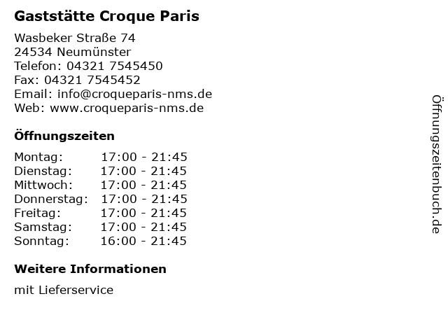 Gaststätte Croque Paris in Neumünster: Adresse und Öffnungszeiten