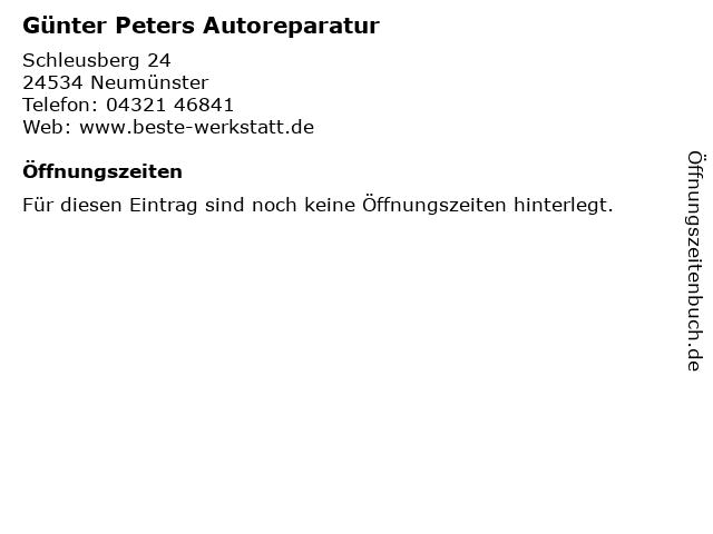 Günter Peters Autoreparatur in Neumünster: Adresse und Öffnungszeiten