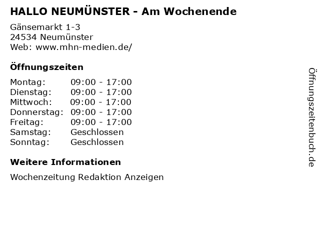 HALLO NEUMÜNSTER - Am Wochenende in Neumünster: Adresse und Öffnungszeiten