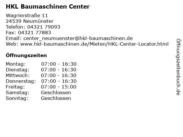 HKL Baumaschinen Center in Neumünster: Adresse und Öffnungszeiten