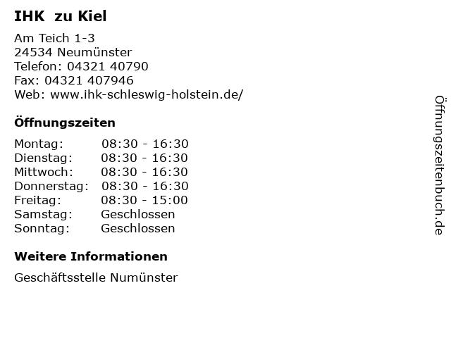 IHK  zu Kiel in Neumünster: Adresse und Öffnungszeiten