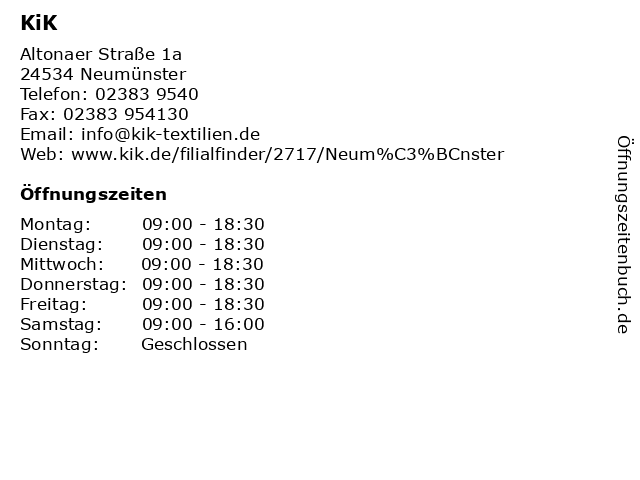KiK in Neumünster: Adresse und Öffnungszeiten