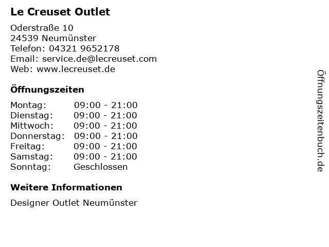 Le Creuset in Neumünster: Adresse und Öffnungszeiten