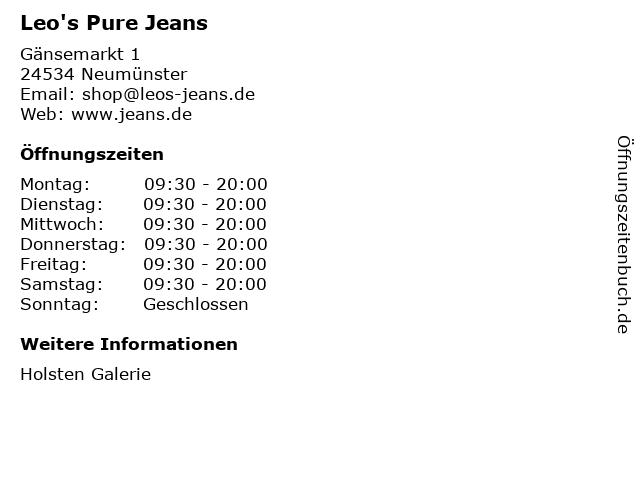 Leo's Pure Jeans in Neumünster: Adresse und Öffnungszeiten
