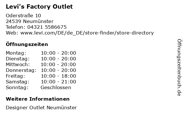 Levi's Factory Outlet in Neumünster: Adresse und Öffnungszeiten