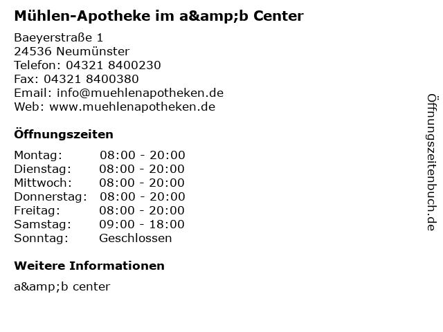 Mühlen-Apotheke im a&b Center in Neumünster: Adresse und Öffnungszeiten